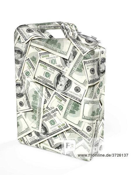 Benzin-Kanister aus Dollarnoten