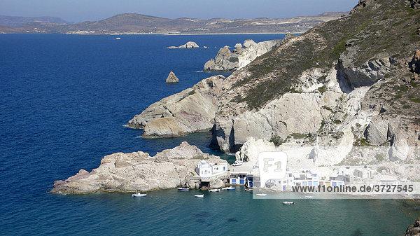 Small fishing port Firopotamos  Milos  Cyclades  Greece  Europe