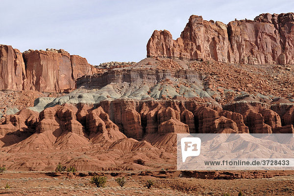 Rote und graue Felsformation im Capitol Reef National Park  Utah  USA