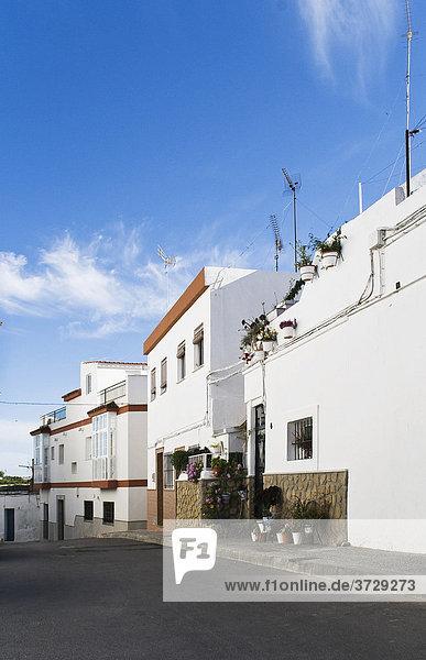 Leere Gasse in einem andalusischen Dorf  Arcos  Spanien  Europa