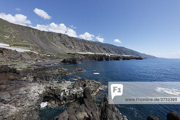 Charco Verde  Landschaftsschutzgebiet Paisaje protegido del Remo  La Palma  Kanaren  Kanarische Inseln  Spanien  Europa