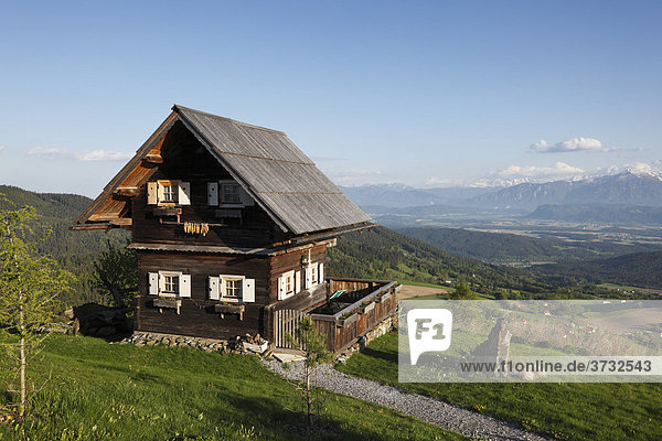 Wooden house at Magdalensberg  Carinthia  Austria  Europe