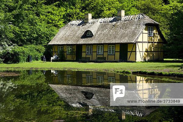 Altes Haus an einem Waldsee  Dänemark  Europa