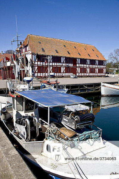 The idyllic harbour in the small village Lundeborg  Funen  Denmark  Europe