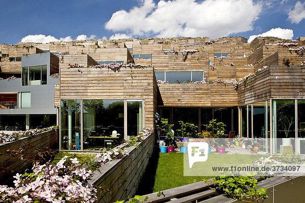 Moderne  bergförmige Appartmentgebäude in Kopenhagen  Dänemark  Europa