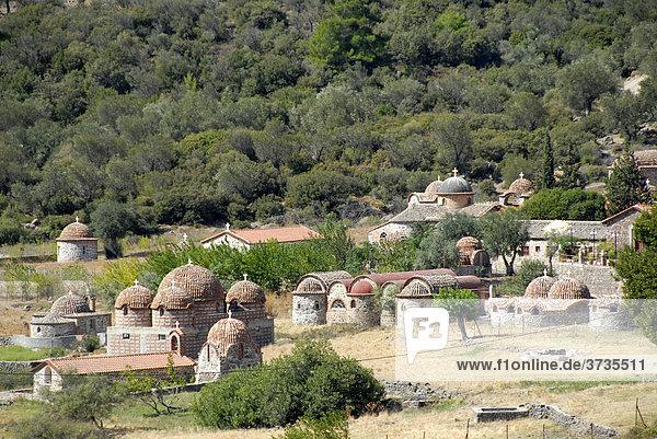 Greek-orthodox christianity  monastery complex with many chapels  Moni Limonos Monastery  Lesbos Island  Aegean Sea  Greece  Europe