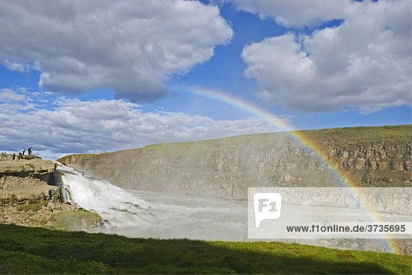 Golden waterfall  Gullfoss waterfall  river Hvita  Iceland