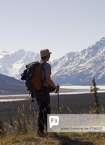 Hiker enjoying the view at the Slims River Valley and Kaskawulsh Glacier  Saint Elias Mountains  Kluane National Park and Reserve  Yukon Territory  Canada  North America  North America