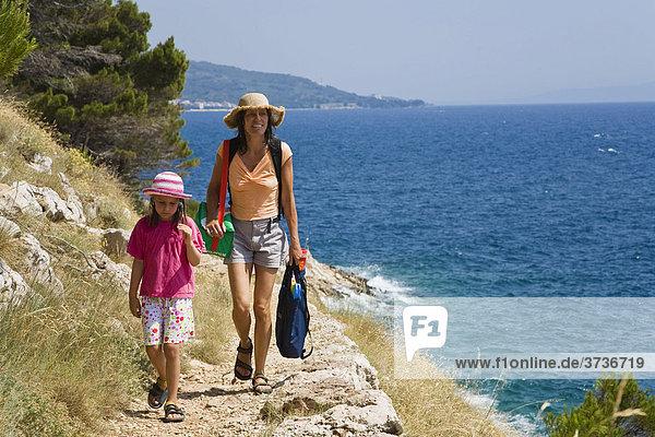 Path on the coast near Makarska  Mediterranean Sea  Dalmatia  Croatia