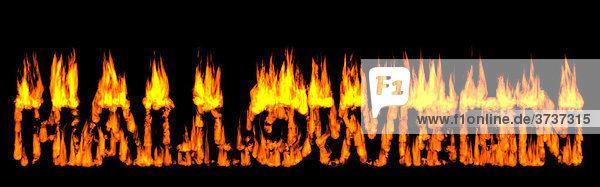 Das Wort Halloween in brennendem Holz