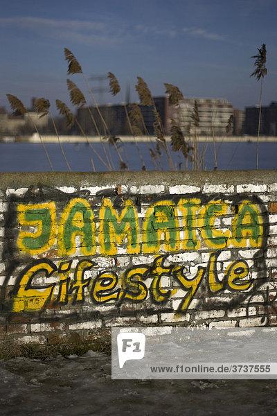 Graffiti in der Rummelsburger Bucht  Berlin  Deutschland  Europa