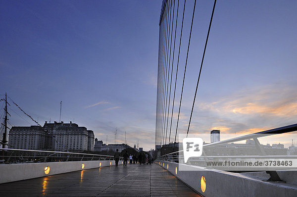 Puente de la Mujer  Woman's Bridge  situated in the old harbour Puerto Madero  Buenos Aires  Argentina  South America