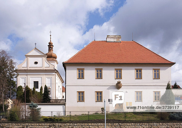 Church and vicarage in Hluk  Moravia  Czech Republic  Central Europe