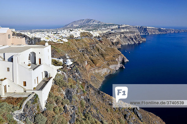 View over the crater edge of Santorini and the town of Thira  Fira  Cyclades  Greece  Europe