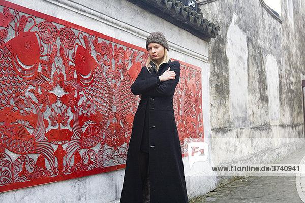 Young woman in Suzhou  Jiangsu  China  Asia