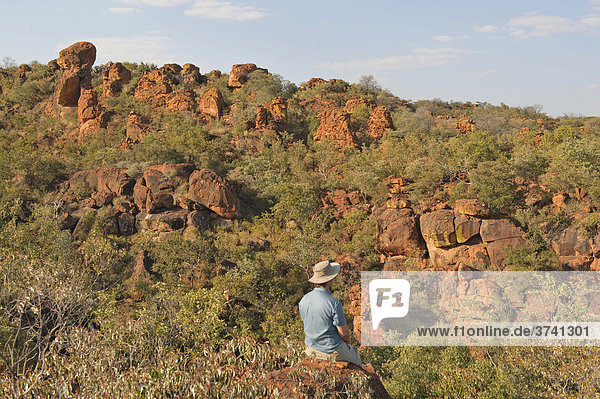 Hikers on a viewpoint of the plateau in the Waterberg National Park  Namibia  Africa
