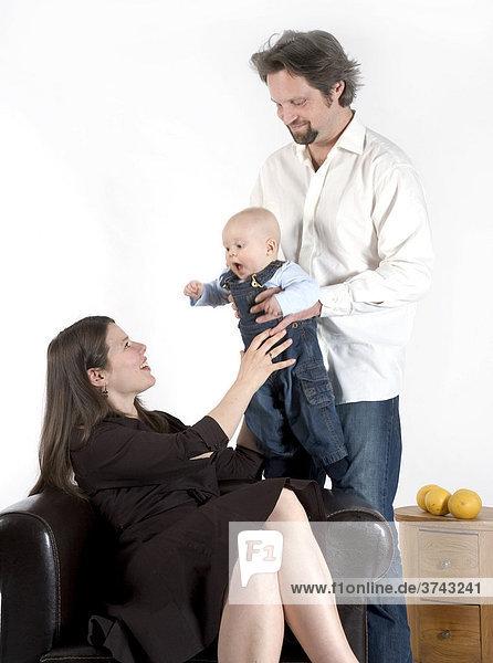 Familienszene  Vater  Mutter  Baby
