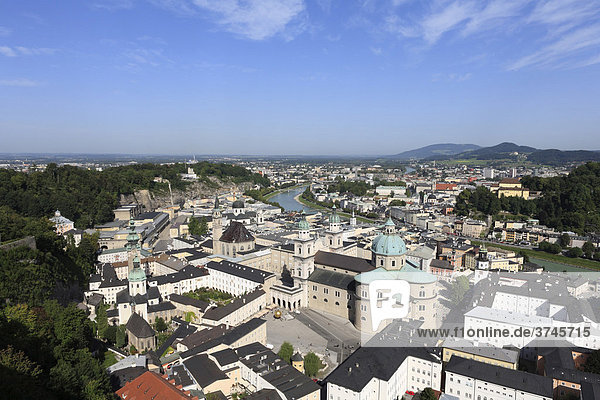Historic district of Salzburg  Kapitelplatz Square in the front and cathedral  view from Festung Hohensalzburg Fortress  Austria  Europe