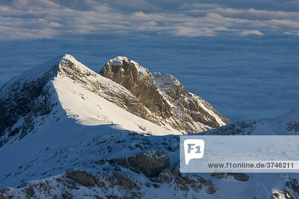 Summit of Mt Moor  Alpstein Range  Canton of Appenzell  Switzerland  Europe