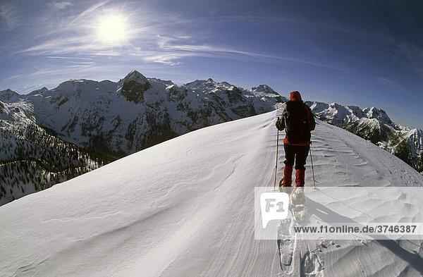 Schneeschuhgeherin auf dem Gipfelgrat des Spirzinger  2066m  Südwiener Hütte  Radstädter Tauern  Salzburg  Österreich  Europa