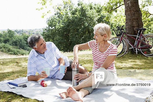 Paare teilen sich ein Picknick