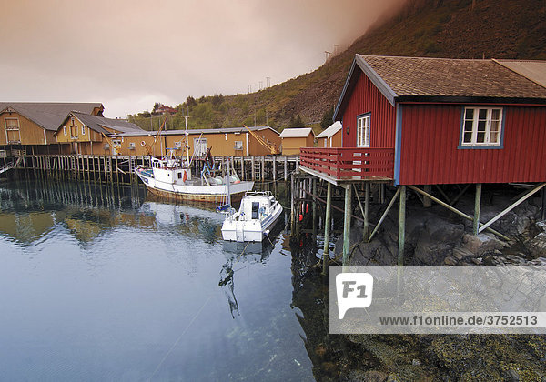 Fishing lodges  fishing settlement in Reine  Lofoten  Norway  Scandinavia  Europe