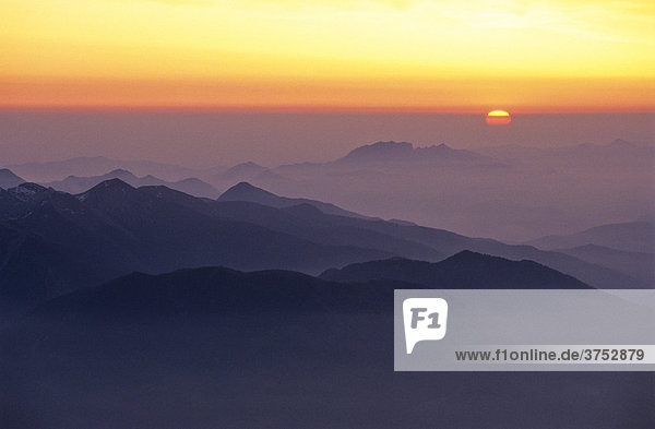 Sunset over mountains,  view from Mt. Zugspitze,  Bavaria,  Germany,  Europe