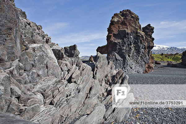 Bizarre rock formations on the beach at DjupalÛnssandur  Snaefellsness Peninsula  Iceland  Atlantic Ocean