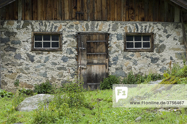 Detail  alpine cabin on the Stieralm (Stier alpine pasture)  Aschau  North Tirol  Austria  Europe