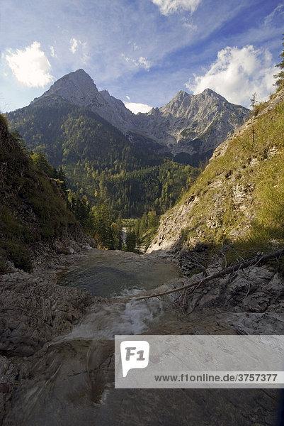 Toten-  Turm-  Laliderer-  Risser- und Kleiner Falk von Garberl-Alm aus  Risstal  Karwendel-Gebirge  Tirol  Österreich  Europa