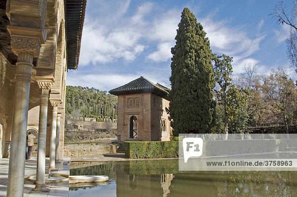 Zentrum des Palastlebens Patio de los Arrayanes  Granada  Andalusien  Spanien