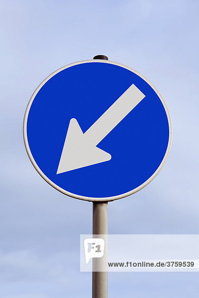 Traffic sign with an arrow pointing down and to the left  decline  declining  descent  southwest