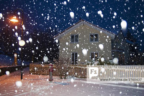 Haus bei Schneegestöber  Schneetreiben  Oberbayern  Deutschland  Europa