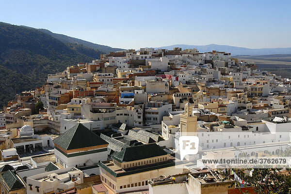 View from above on the old town with Zaouia islamic place of pilgrimage Moulay-Idriss Morocco
