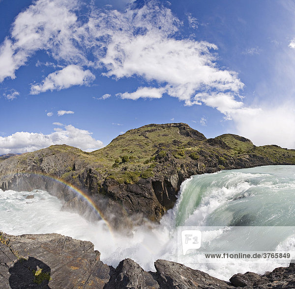 Salto Grande waterfalls  Torres del Paine National Park  Patagonia  Chile  South America