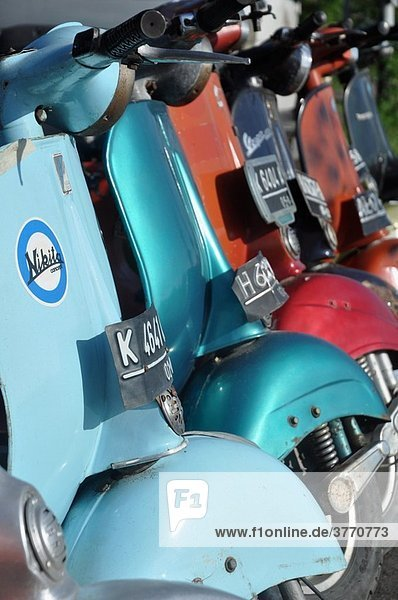 near Kuta (Bali  Indonesia): Vespa scooters  sold by a garage specialized in vintage Vespas
