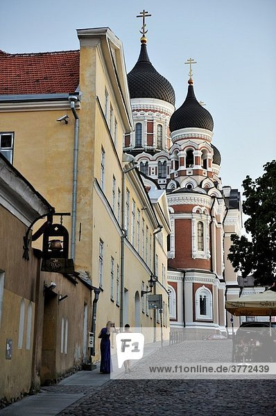 Pikk Jalg street climbing toward the A Nevsky Cathedral  Tallinn  estonia  northern europe