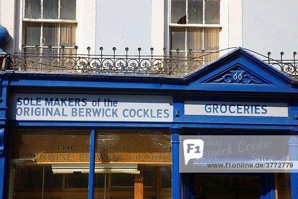 Old Berwick Cockles Shop Sign Berwick upon Tweed Northumberland