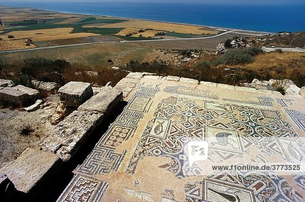 Greece Cyprus Island  greek part Greco-Roman Theatre built in the 2ndcentury BC  at Kourion archaeological site  detail ancient mosaics floor