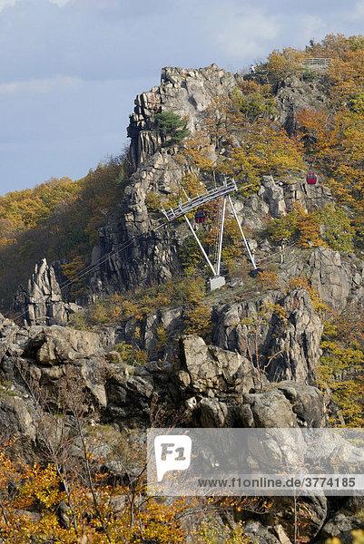 Herbstlandschaft  Rosstrappe und Kabinenbahn  Thale  Harz  Sachsen-Anhalt  Deutschland Herbstlandschaft, Rosstrappe und Kabinenbahn, Thale, Harz, Sachsen-Anhalt, Deutschland