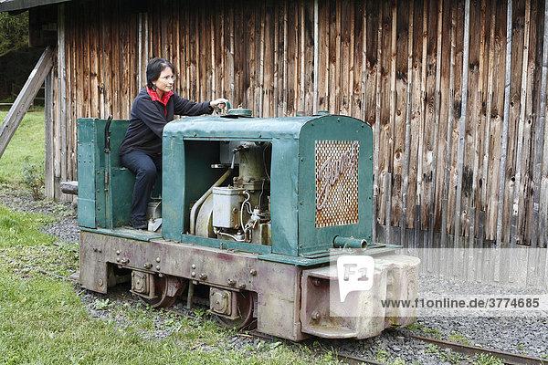 Lokomotive  ehemaliger Basaltabbau am Basaltsee bei Riedenberg  Schwarze Berge  Unterfranken  Bayern
