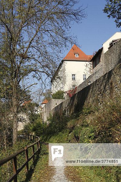 City wall Mellrichstadt  Rhoen-Grabfeld  Franconia  Bavaria  Germany