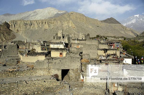 Blick über die Stadt mit eng gebauten Steinhäusern Kagbeni Mustang Annapurna Region Nepal