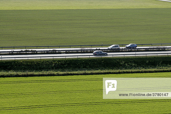 Highway through agriculture fields
