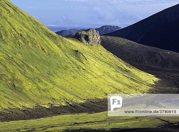 Moosüberzogener Berg Tjörfavell  Landmannalaugar  Island