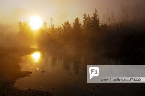 Sonnenaufgang bei Morgennebel  Yellowstone Nationalpark  Wyoming  USA  Vereinigte Staaten von Amerika