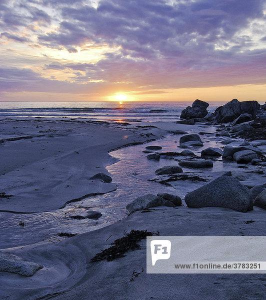 Küstenlandschaft bei Sonnenuntergang  Austvagoy  Lofoten  Norwegen  Skandinavien  Europa