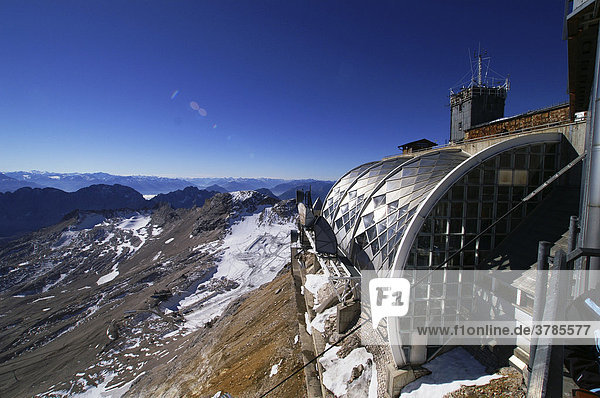 Meteorological office and top station on peak of Zugspitze  2961m  Upper Bavaria  Bavaria  Germany