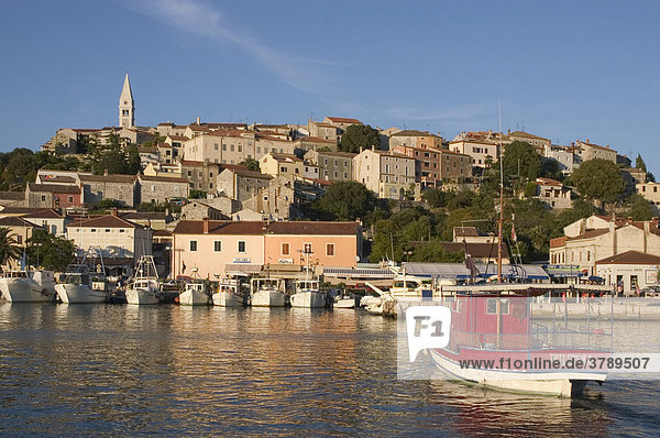 Vrsar Istria Croatia view over the harbour to the old town