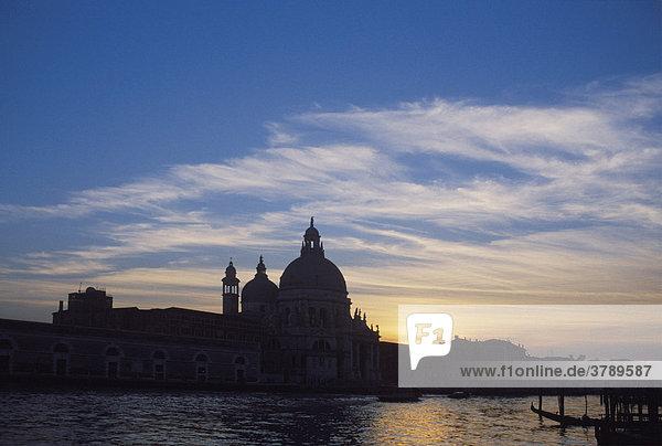 Venice Italy Italia Santa Maria della Salute above the Canale di San Marco in evening light